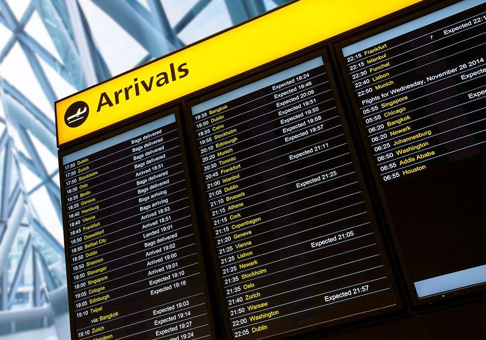Airport flight schedule chart
