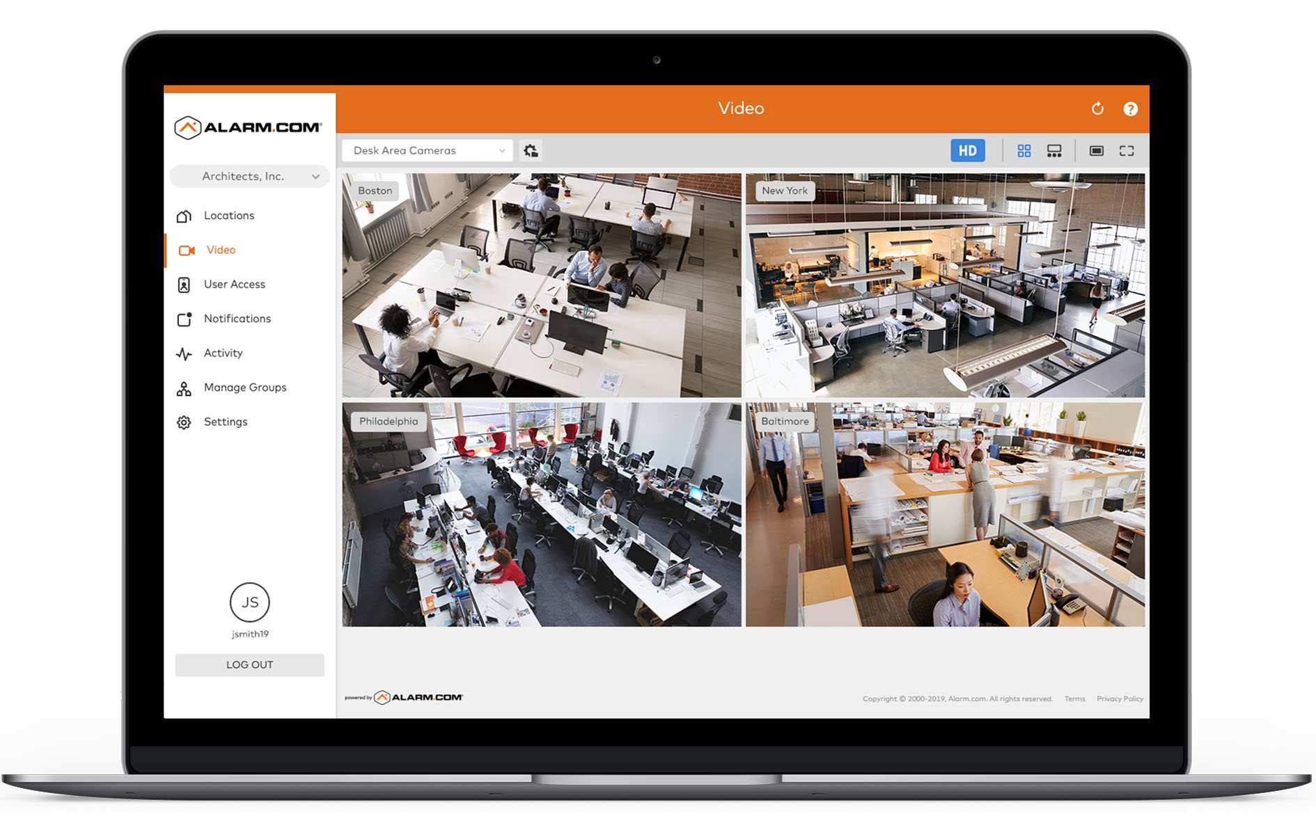 Surveillance camera monitoring workplace